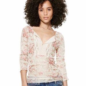 Ralph Lauren Denim & Supply Lace Floral Bib Henley